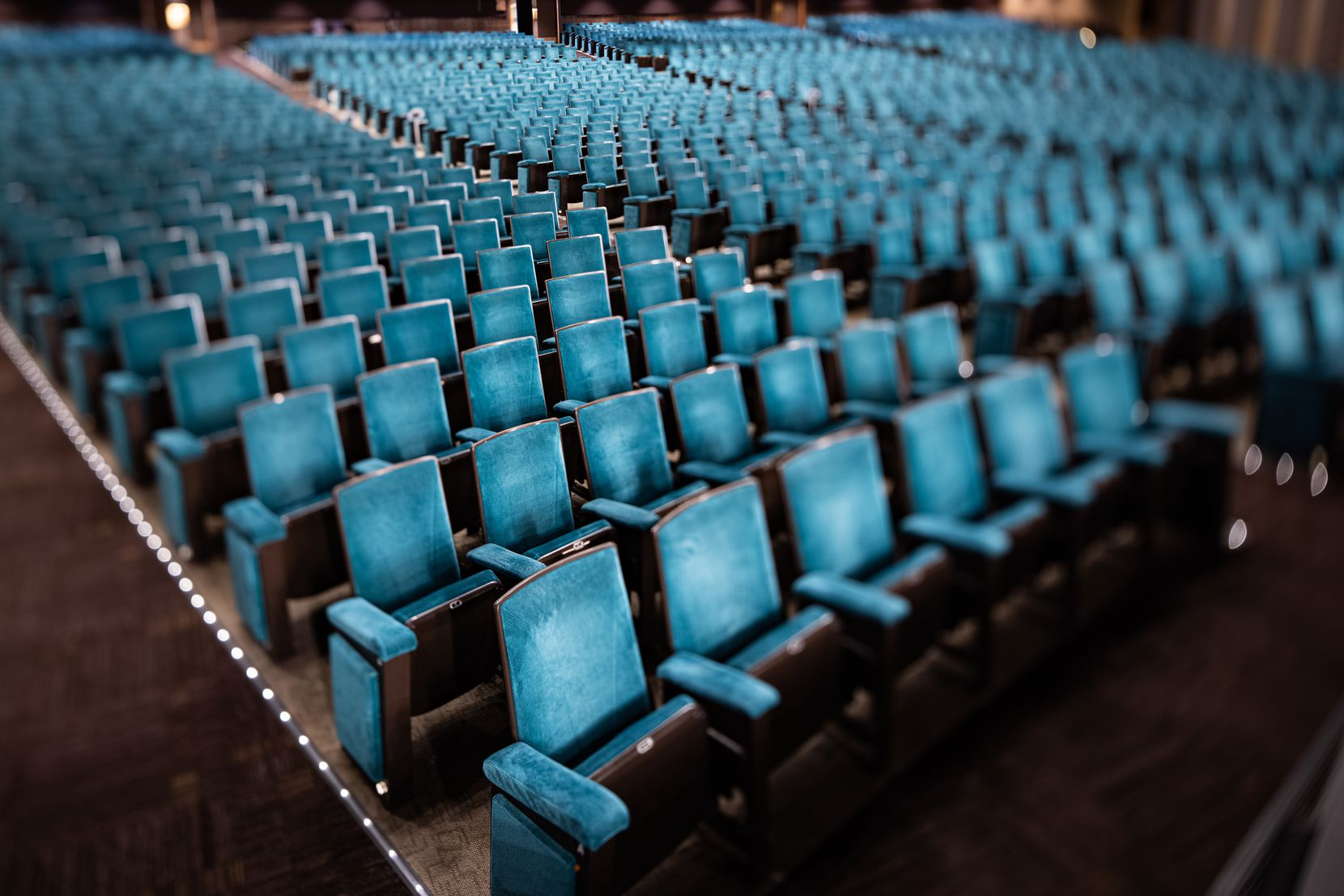 Empty seats at the Music Hall at Fair Park in Dallas photographed on Thursday, Feb. 4, 2021.