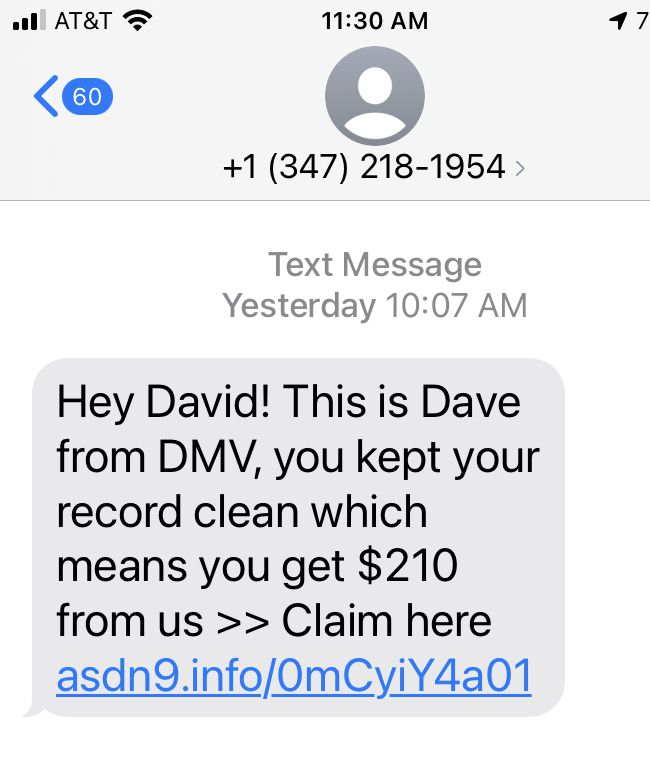 A sample of the type of spam texts received by The Watchdog.