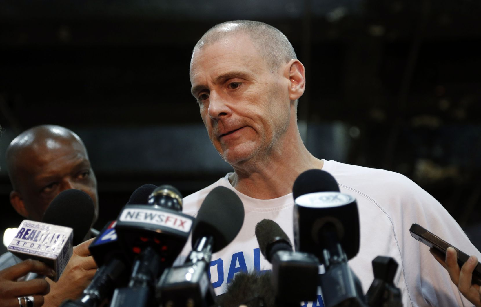Dallas Mavericks head coach Rick Carlisle talks to the media the day after losing to the San Antonio Spurs in game 7 of the first round of the NBA Playoffs at American Airlines Center in Dallas, Texas on May 5, 2014. (Vernon Bryant/The Dallas Morning News)
