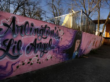 A large painted mural adorns a memorial for Amber Hagerman, the little girl who was abducted on her bike and later found dead in Arlington, Texas in 1996.