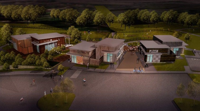 Rendering of the Shacks, a new restaurant park and dog park opening in The Colony.