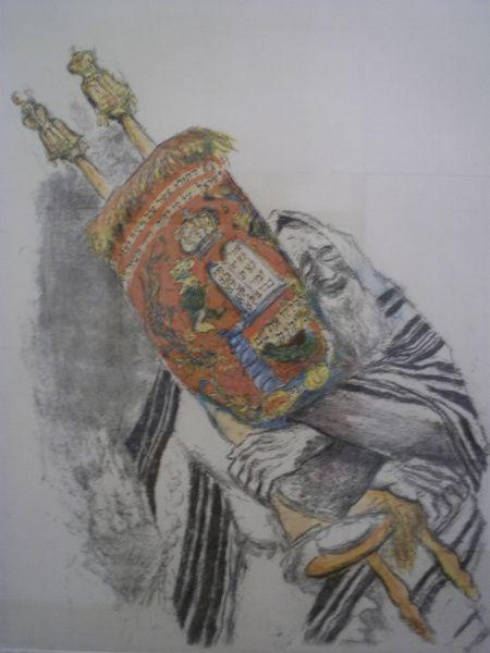 """""""The Torah,"""" etching and watercolor, Ira Moskowitz, on display at the Museum of Biblical Arts in Dallas"""