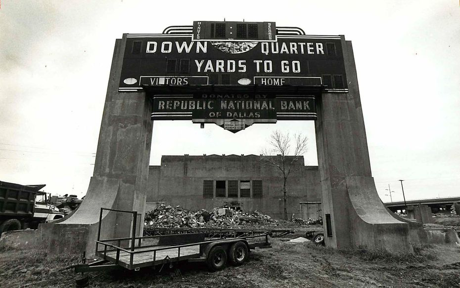 P. C. Cobb Stadium was at Oak Lawn Avenue at Stemmons Freeway. The scoreboard stood amid rubble left by construction crews when it was torn down.