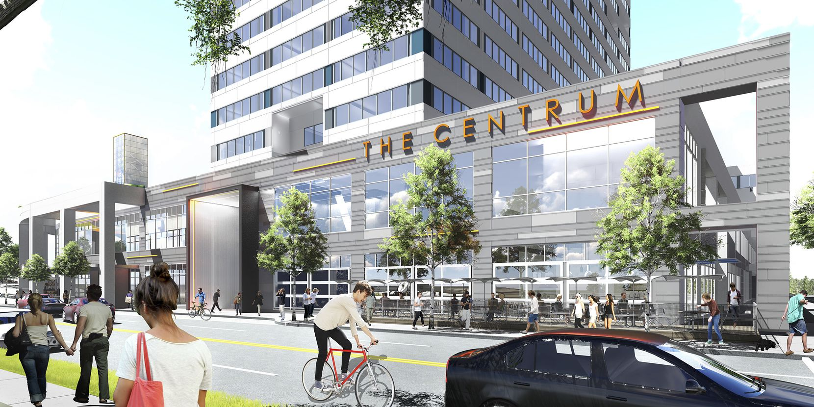 A rendering from The Centrum's $25 million renovation. It has already attracted startup and tech tenants, including RewardStyle and Dallas office of San Francisco-based Salesforce. (Quadrant Investment Properties)