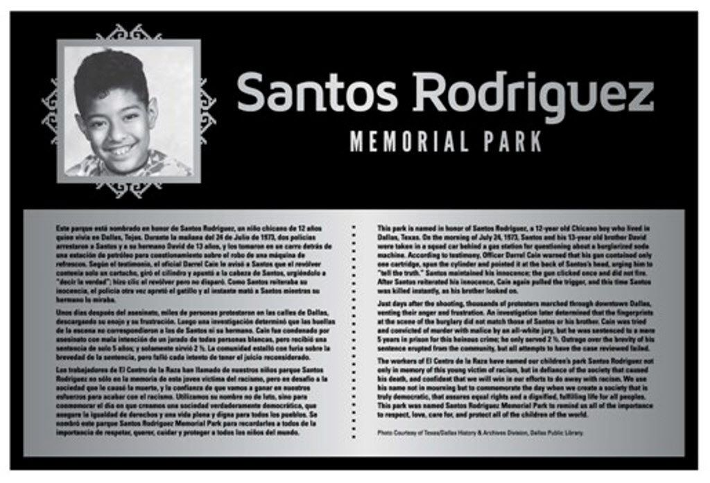 Plaque at the Santos Rodriguez Memorial Park addresses his short life in Dallas and the 12-year-old boy's place in the civil rights struggle.