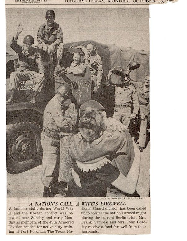 Frank and Lucy Campise, the couple kissing closest to the truck, were featured in a Dallas Morning News front-page photo on Oct. 23, 1961, when Frank was sent with his activated Texas Guard unit to Fort Polk in Louisiana. The Campises had been married just over a year.