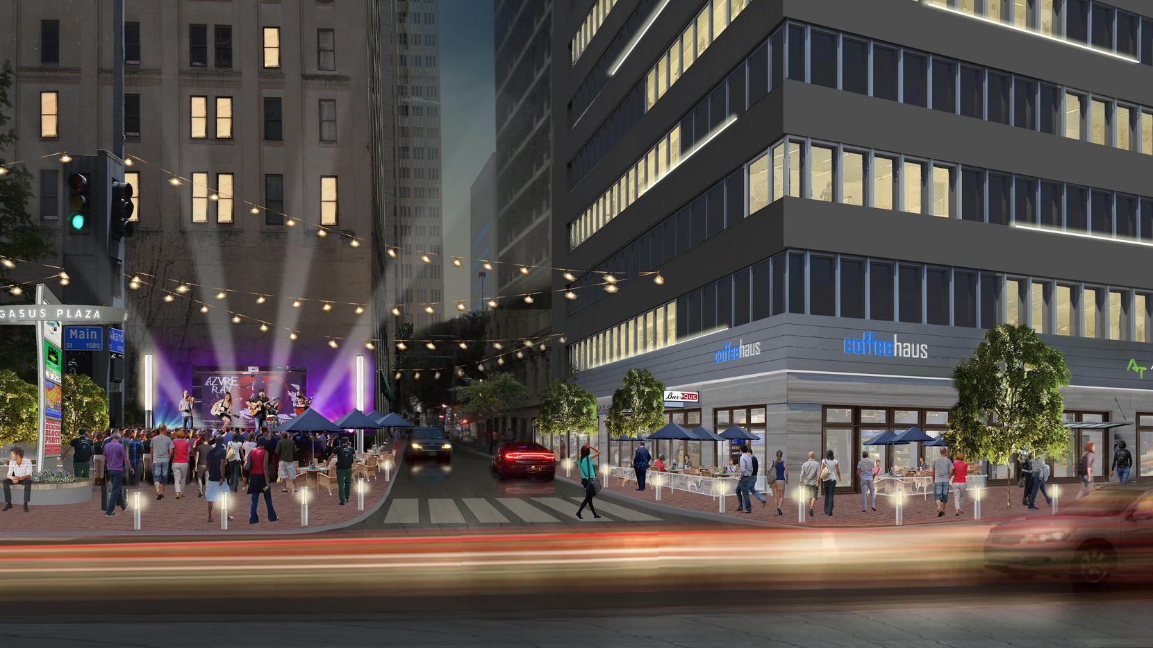 The Akard Street corner of the Adolphus Tower will be getting new lighting and retail space.