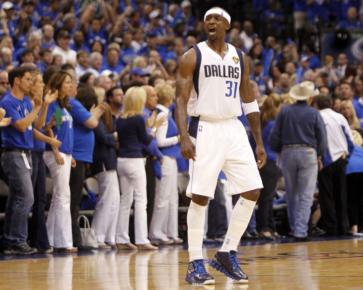 Dallas Mavericks shooting guard Jason Terry (31) reacts in the second quarter during Game 3 of the NBA Finals against the Dallas Mavericks at American Airlines Center Sunday, June 5, 2011 in Dallas. (Vernon Bryant/The Dallas Morning News)