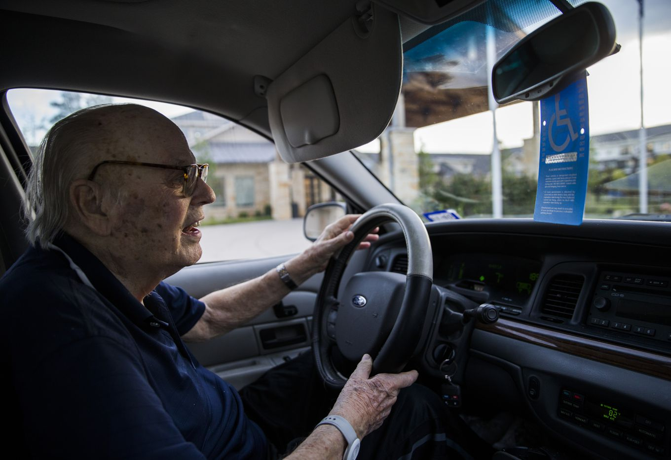 Bob Stiegler drives about 80 yards from The Village at Mapleshade, where he lives, to Silverado Plano Memory Care Community, where his wife lives.