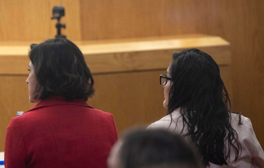 Brenda Delgado (right) listens to her guilty verdict in the 363rd Judicial District Court at the Frank Crowley Courthouse in Dallas, Friday, June 7, 2019. Delgado was found guilty of capital murder, and was accused of hiring Crystal Cortes and Kristopher Love to kill Kendra Hatcher, an Uptown dentist. (Lynda M. Gonzalez/The Dallas Morning News)