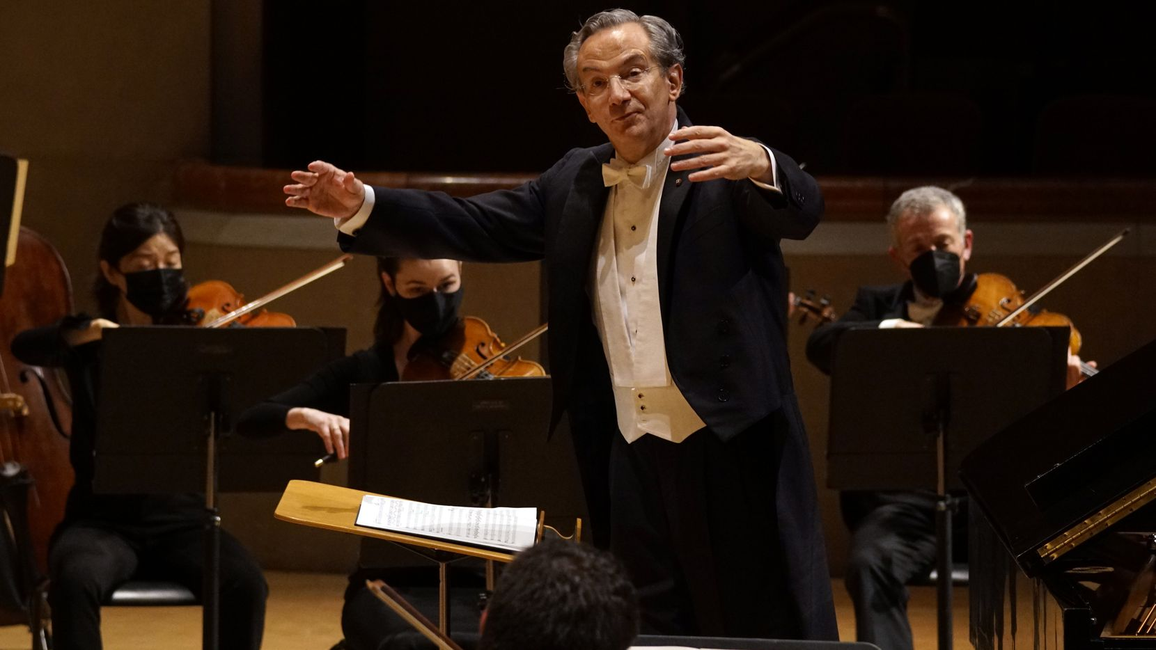Conductor Fabio Luisi conducts the Dallas Symphony Orchestra at the Meyerson Symphony Center in Dallas on April 1, 2021.