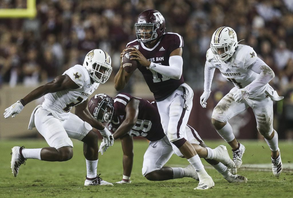 FILE - Texas A&M quarterback Kellen Mond (11) looks for a receiver during the third quarter of a game against Texas State on Thursday, Aug. 29, 2019, at Kyle Field in College Station.
