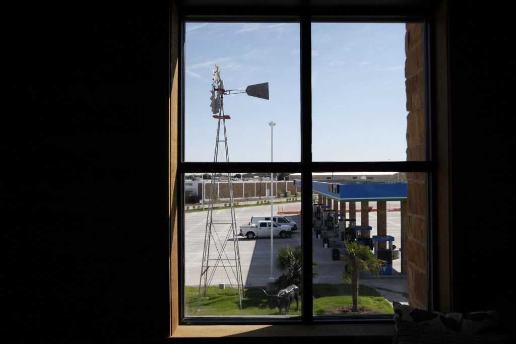 This 2015 file photo shows an office with a view of a windmill purchased from Chicago at the Fuel City in Mesquite.