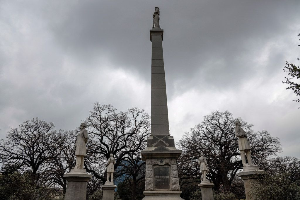 The Confederate War Memorial that, for now, sits next to Dallas City Hall in Pioneer Park Cemetery.