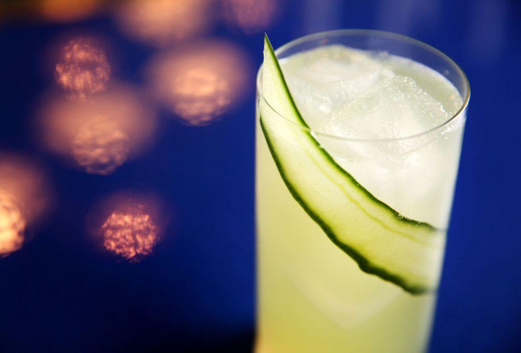 A Mastiha Cooler with sweet mastiha liqueur, gin, cucumber, bitter lemon soda and Peychaud's bitters photographed at Zaytinya in Frisco, Texas on Monday, Feb. 5, 2018. (Rose Baca/The Dallas Morning News)
