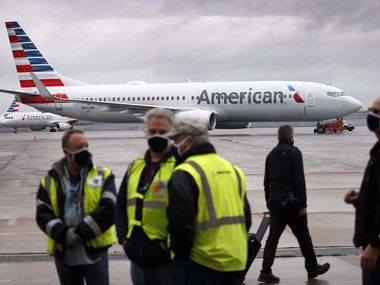 A Boeing 737-MAX 8 is pictured on the ramp at American Airlines maintenance facility in Tulsa, Oklahoma, Wednesday, December 2, 2020. (Tom Fox/The Dallas Morning News)