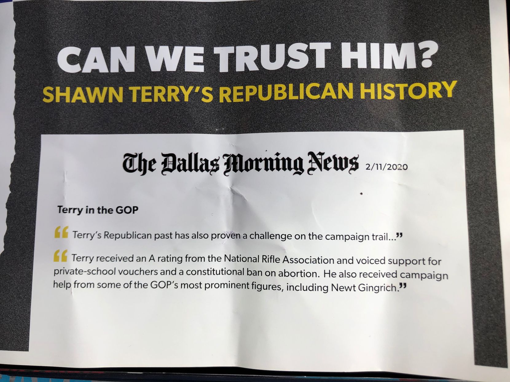 Mailer sent out by Joanna Cattanach campaign, pointing out opponent Shawn Terry's Republican past. Terry said the add distorts his record.