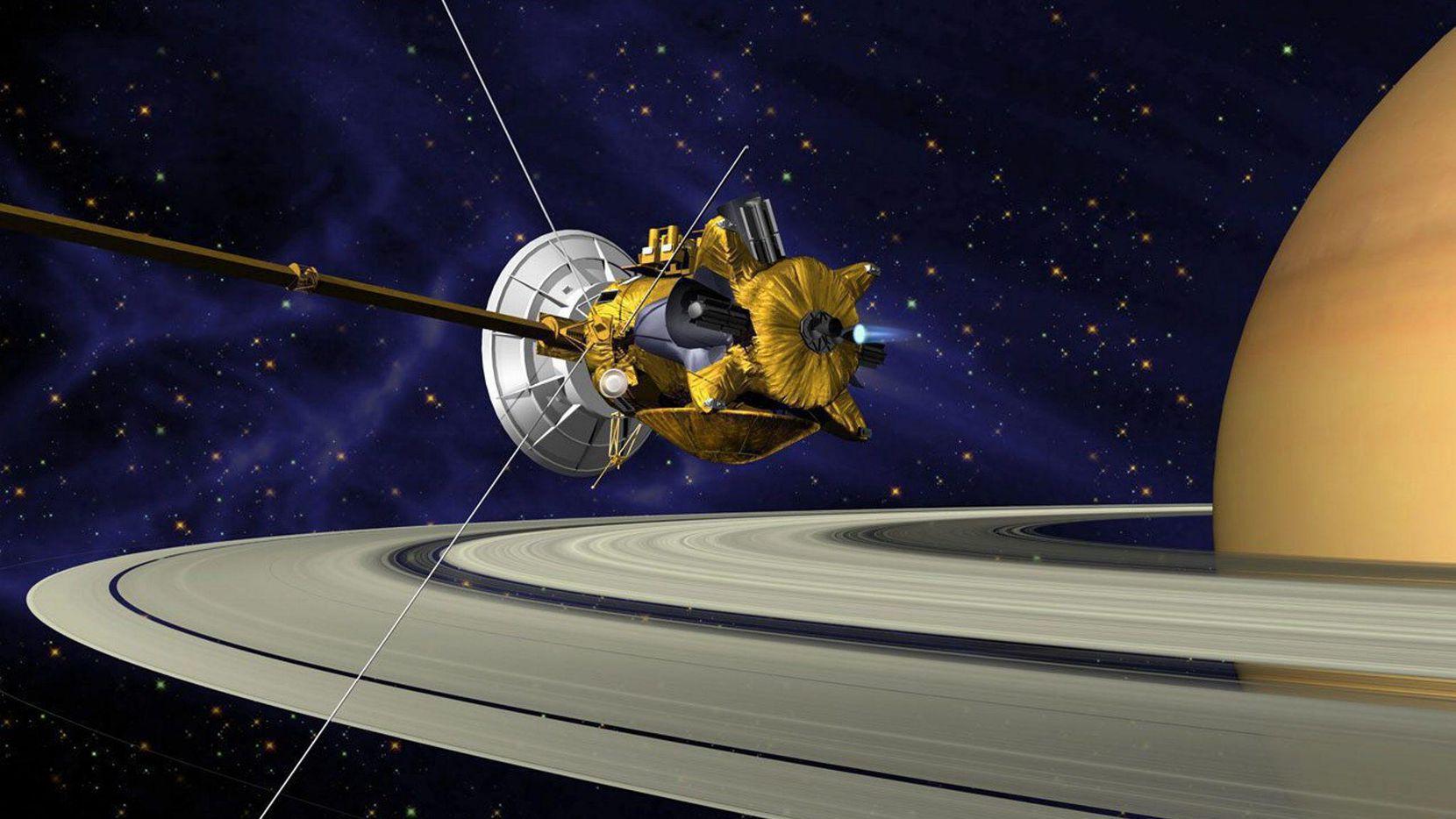 Una versión artística de la sonda Cassini de NASA en el planeta Saturno.(NASA)