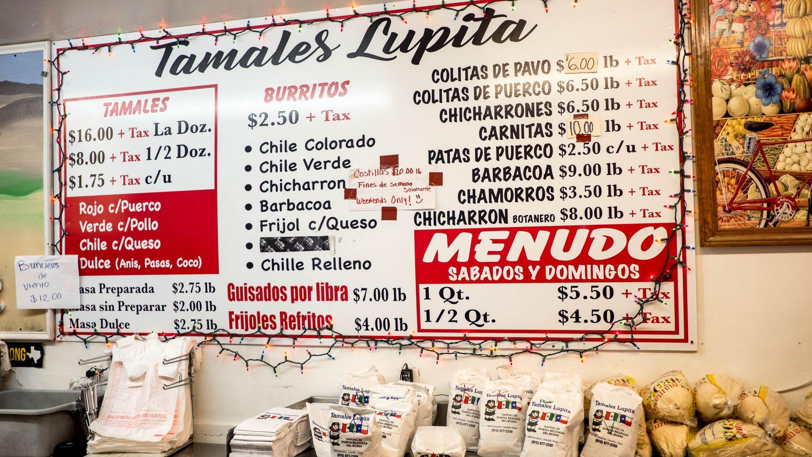 The menu at Tamales Lupita in Canutillo, Texas, on Friday, December, 18, 2020.