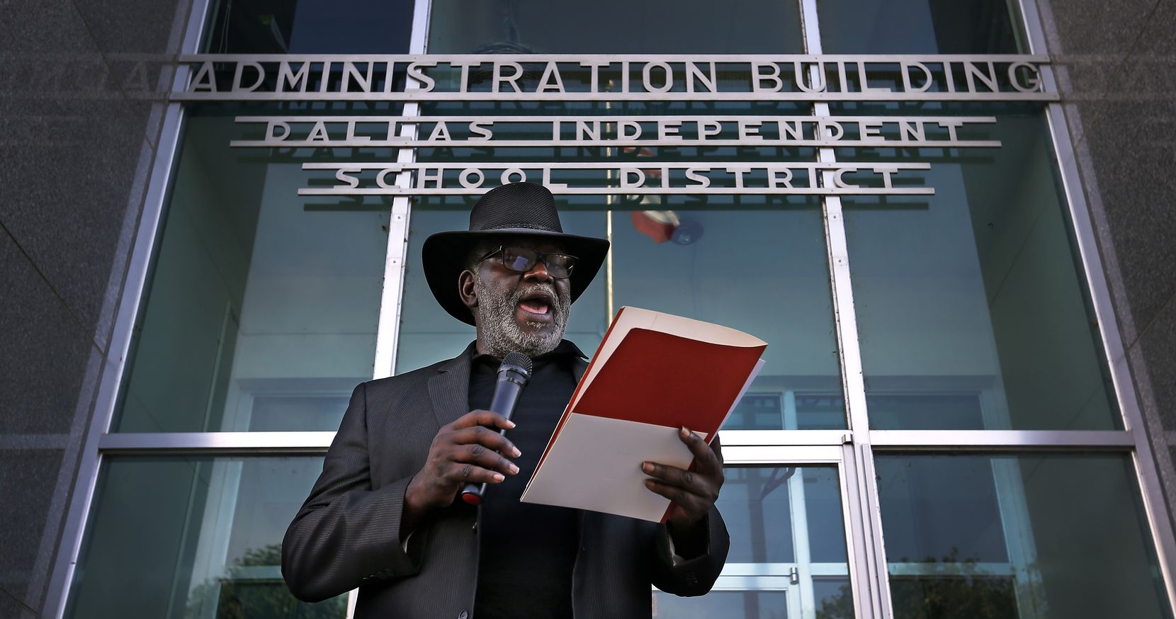 During a May 2017 rally by the Strong Schools, Strong Dallas coalition, Gerald Britt read a statement in support of the passage of a tax increase to help pay for additional programs and teachers in DISD schools. Dallas voters approved that initiative in November 2018.