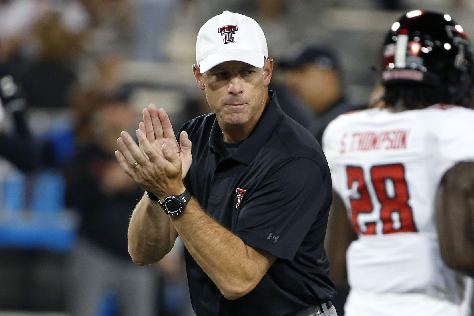 Texas Tech head coach Matt Wells prior to an NCAA college football game against Arizona, Saturday, Sept. 14, 2019, in Tucson, Ariz.
