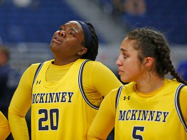 McKinney forward Naomi Anamekwe #20 can hold back tears after losing to Cypress Creek in 6A semifinal: Cypress Creek vs. McKinney in Friday, March 6, 2020 at the Alamodome. (Ron Cortes/Special Contributor) ORG XMIT: 20049803A