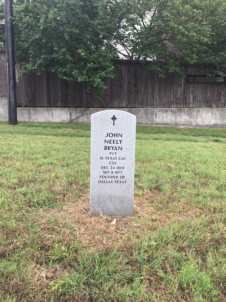 A headstone marking the possible burial place of John Neely Bryan, the founder of the city of Dallas, shown at the Austin State Hospital Cemetery in Austin, Texas, on May 23, 2018