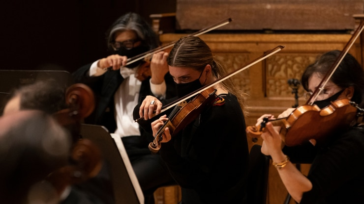The Dallas Symphony Orchestra performs during the 2020-21 concert season.