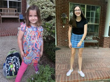 Katie Damm's first day of kindergarten in 2010 (left) and her first day of high school on Thursday.