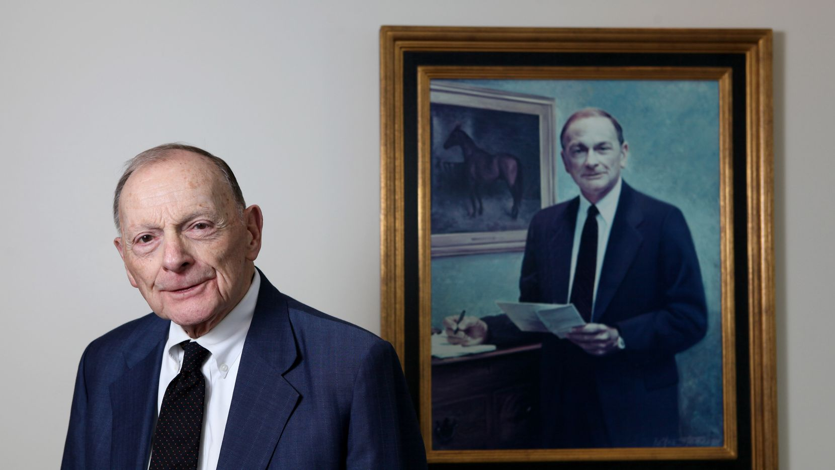 Jim Coleman, of Carrington Coleman Sloman & Blumenthal was photographed in his office on May 17, 2013 in downtown Dallas. The portrait of Coleman is a replica of the original that hangs at Virginia University.
