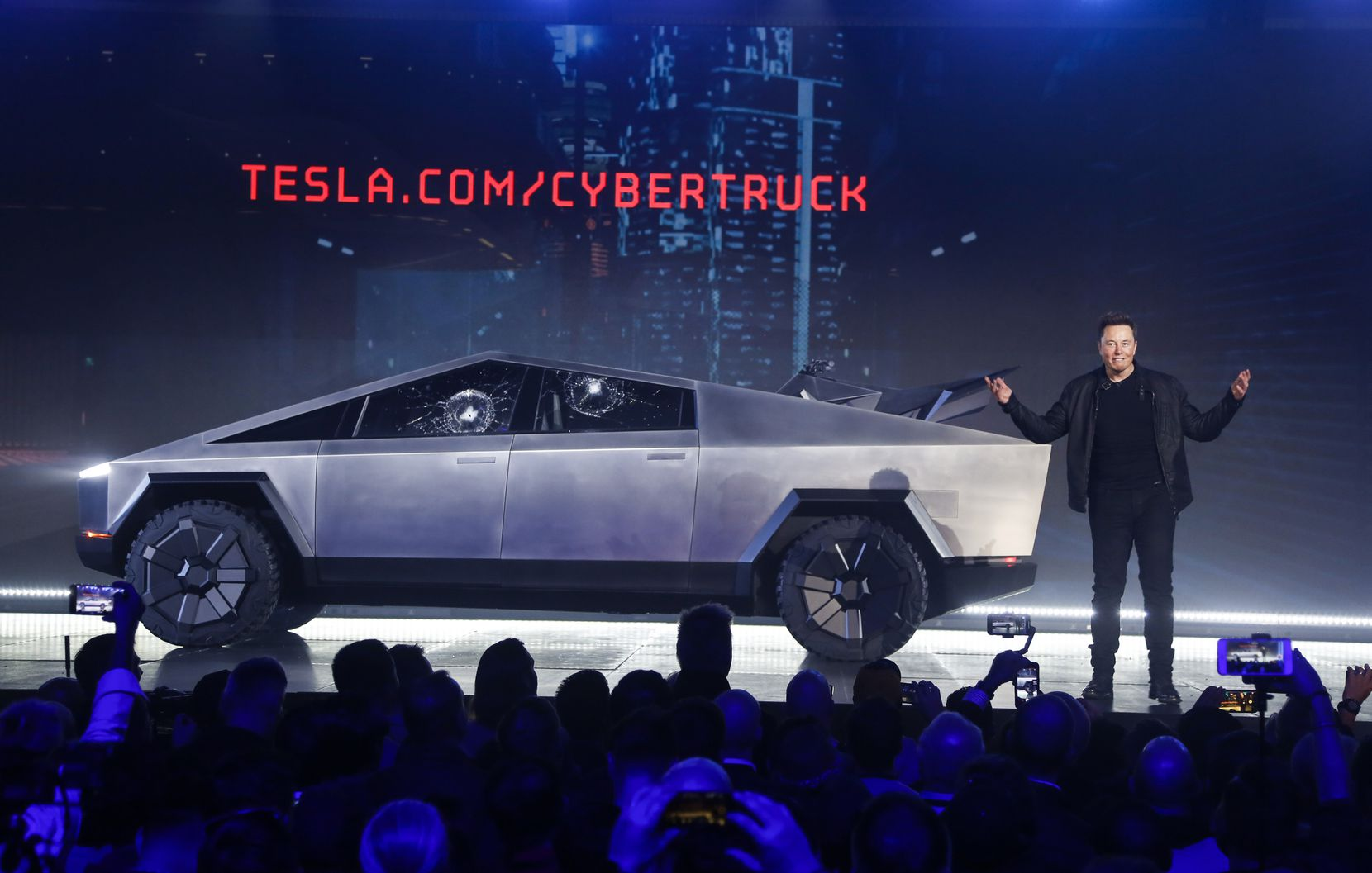 Tesla CEO Elon Musk introduced the Cybertruck at Tesla's design studio in November 2019  in Hawthorne, Calif.