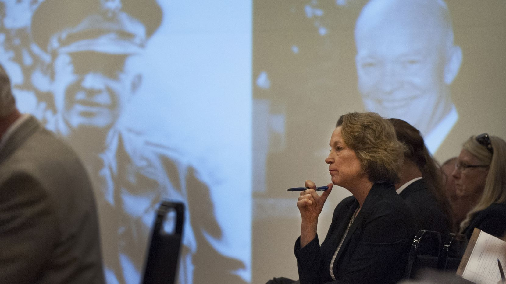 Susan Eisenhower, granddaughter of President Dwight D. Eisenhower, attended a 2014 meeting of the Eisenhower Memorial Commission in Washington, D.C. The author will take part in a virtual program for the Allen Public Library on Sept. 24.