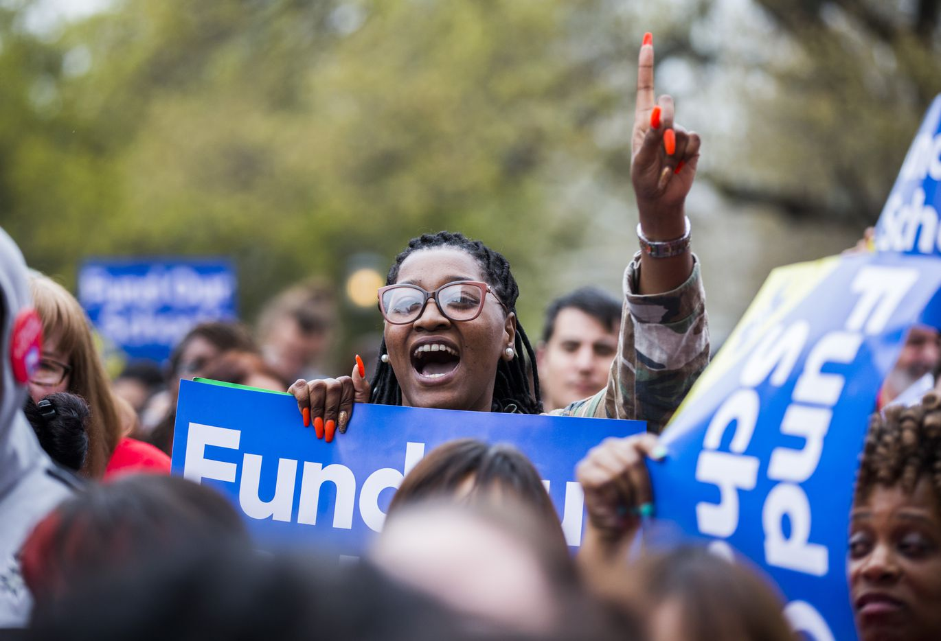 Fifth grade teacher Lindsey Dickens of Houston chants during the Texas Public Education Rally on Monday, March 11, 2019 at the Texas capitol in Austin. Teachers pushed for school finance reform and pay raises.