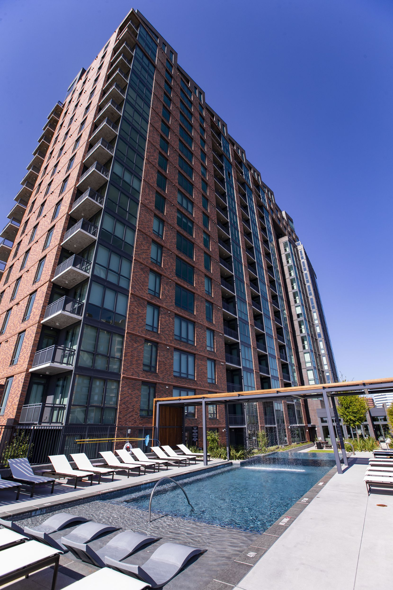 The pool at the Aster, a new  luxury high rise apartment building in Dallas' Oak Lawn district.