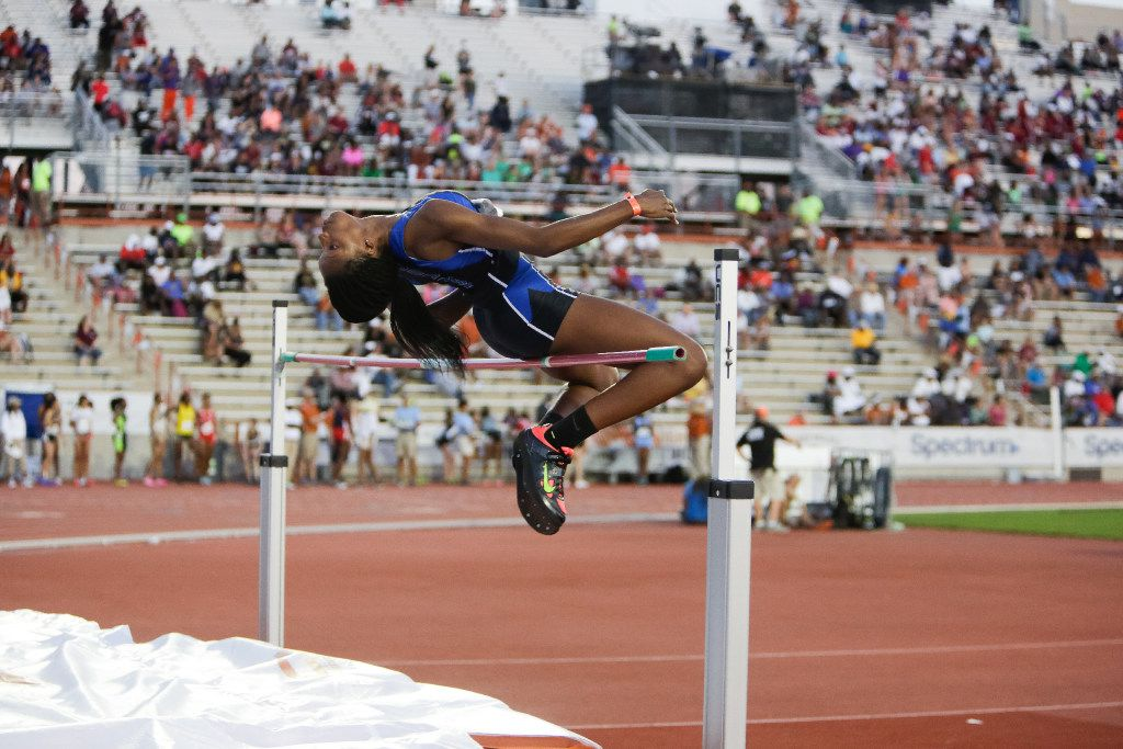 Byron Nelson's Sanaa Barnes attempts a jump in the girls high jump during the 2017 Texas Relays at Mike A. Myers Stadium at the University of Texas at Austin, Texas on March 31, 2017. Barnes placed fifth with a height of 5-6.00. (Julia Robinson/Special Contributor)