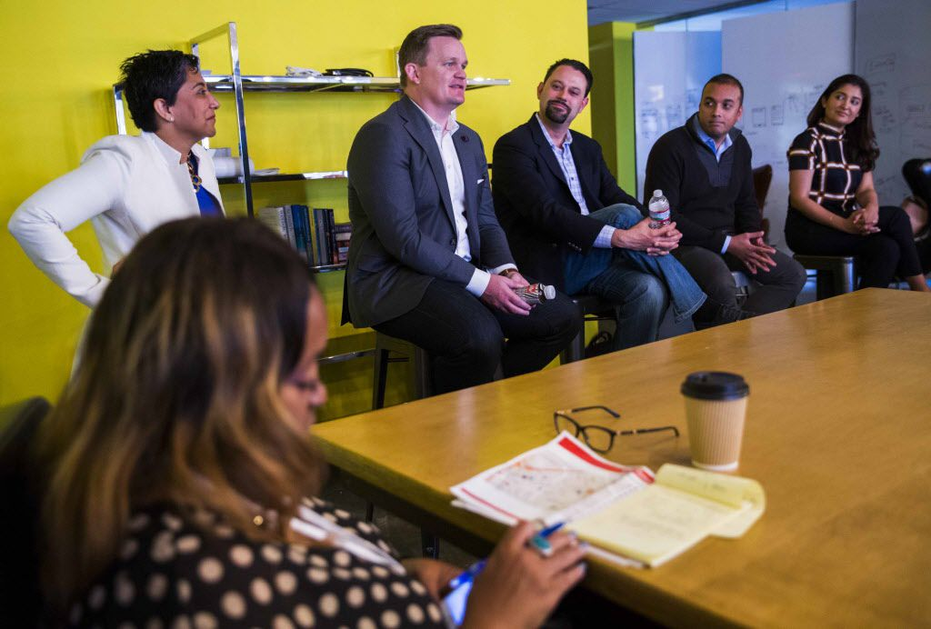 """Panelists discuss the advantages of travel in a session called """"Travel: Travel CEO Panel"""" during Dallas Startup Week activities on Tuesday, April 12, 2016 at Kowork in Dallas.  (Ashley Landis/The Dallas Morning News)"""