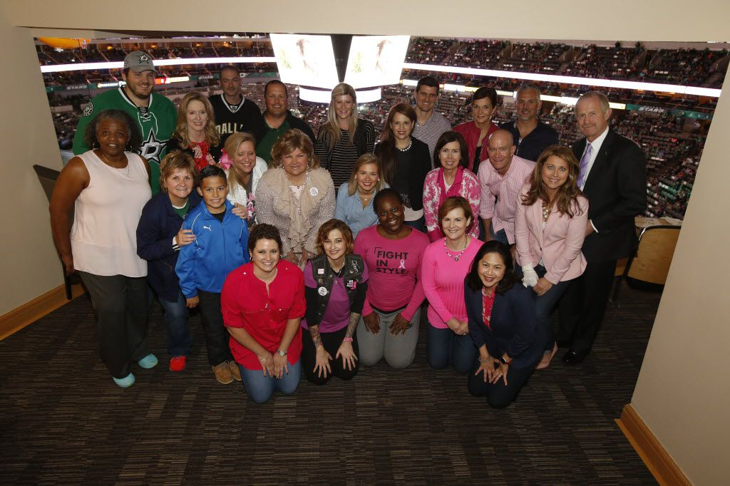 The Nill's suite at Fight Cancer Night on Oct. 24, 2015. Jim and Bekki Nill are at far right (Jim in back row far right, and Bekki in middle row far right)