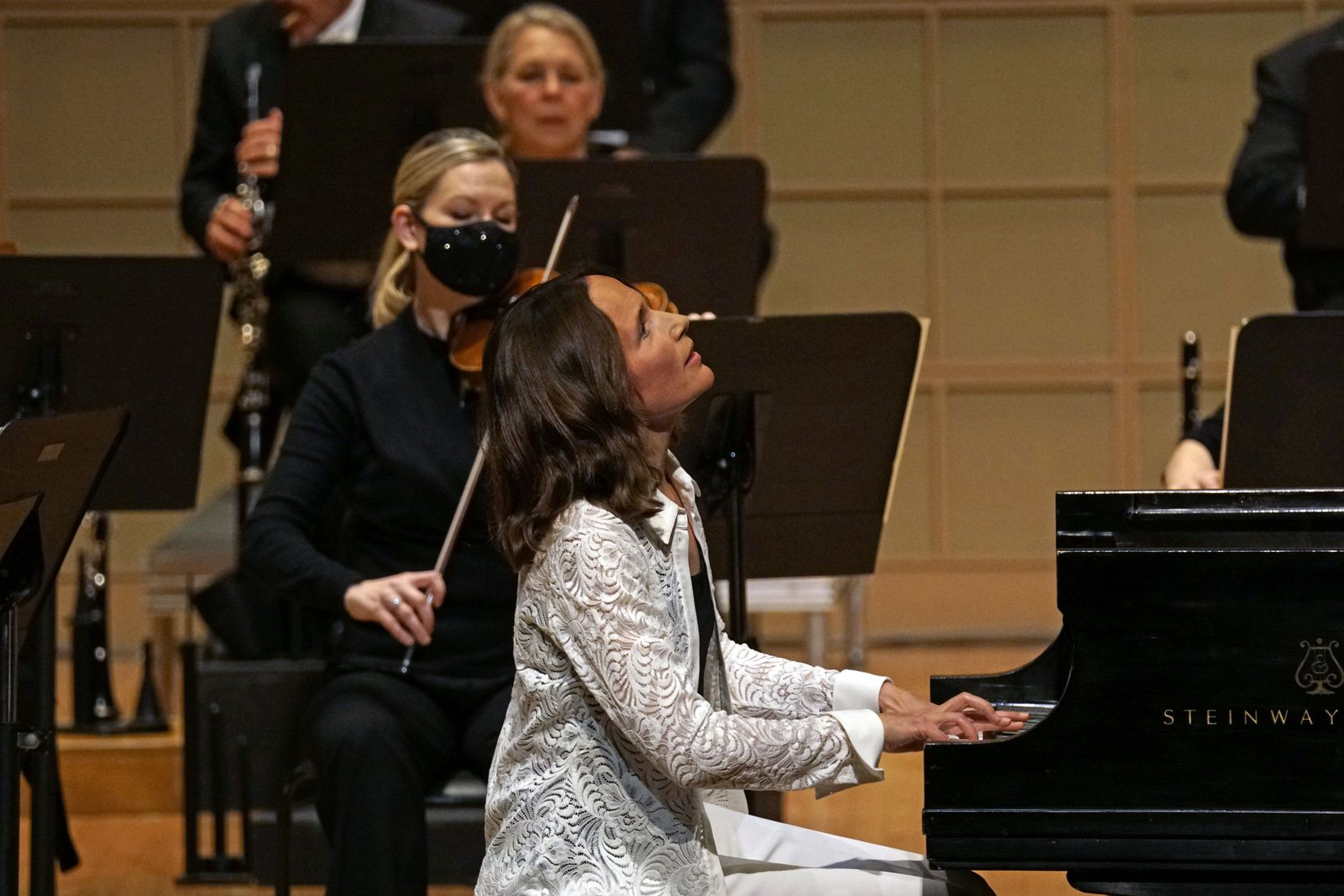 Pianist Hélène Grimaud performs with the Dallas Symphony Orchestra.