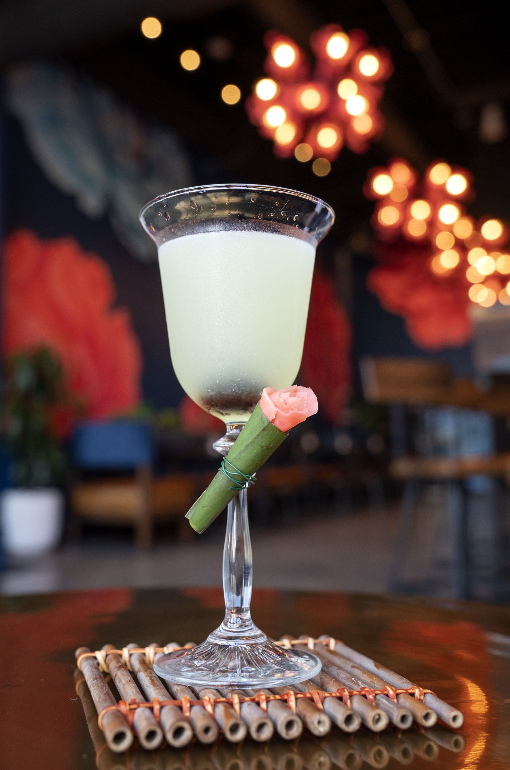 The Tokyo cocktail comes with pickled ginger, rolled to look like a rose.