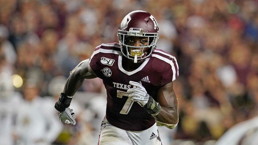 Texas A&M's Jashaun Corbin (7) runs a pattern against Texas State during the first half of an NCAA college football game in College Station, Texas, Thursday, Aug. 29, 2019. (AP Photo/Chuck Burton