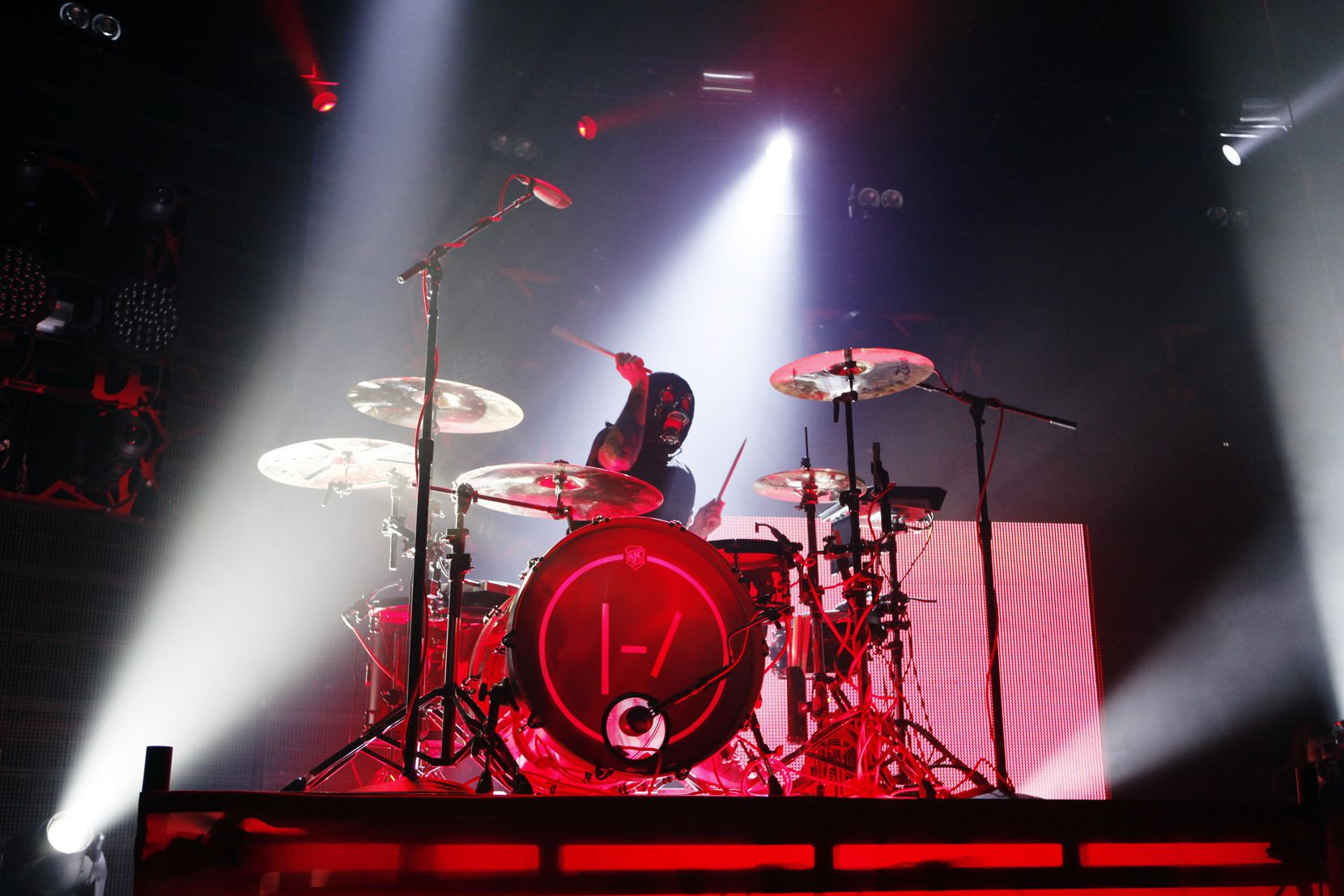 Twenty One Pilots drummer Josh Dun performs at the South Side Ballroom, on Thursday, Oct. 1, 2015 in Dallas.
