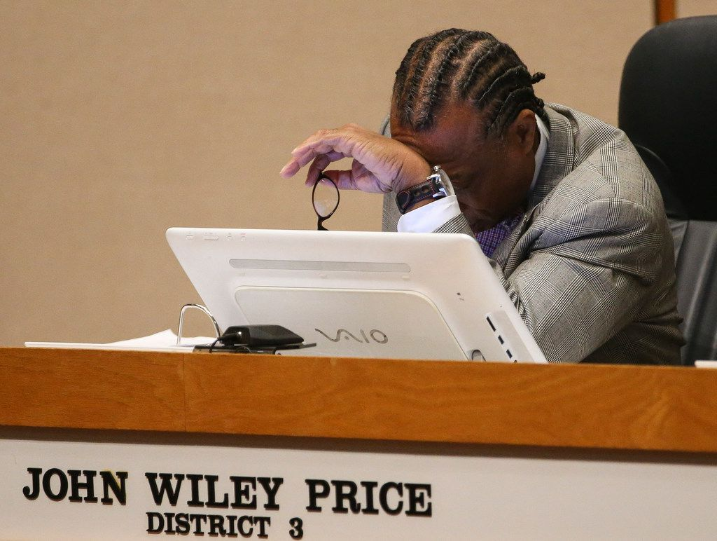 District 3 Commissioner John Wiley Price listens during a meeting of The Dallas County Commissioners Court on Tuesday at the  Dallas County Administration Building.