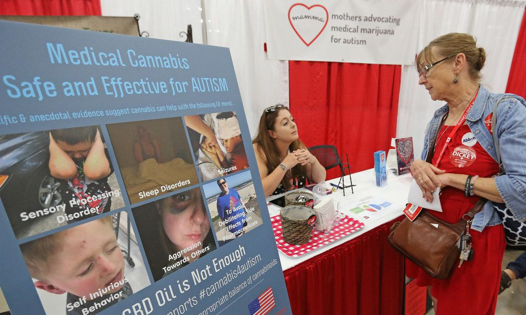 Martha Ponce, right, talks with Amanda Martinez, who was manning the MAMMA (mothers Advocating Medical Marijuana for Autism) booth during the 2018 Texas GOP Convention held at the Henry B. Gonzalez Convention Center in downtown San Antonio. Texas on Thursday, June 14, 2018.