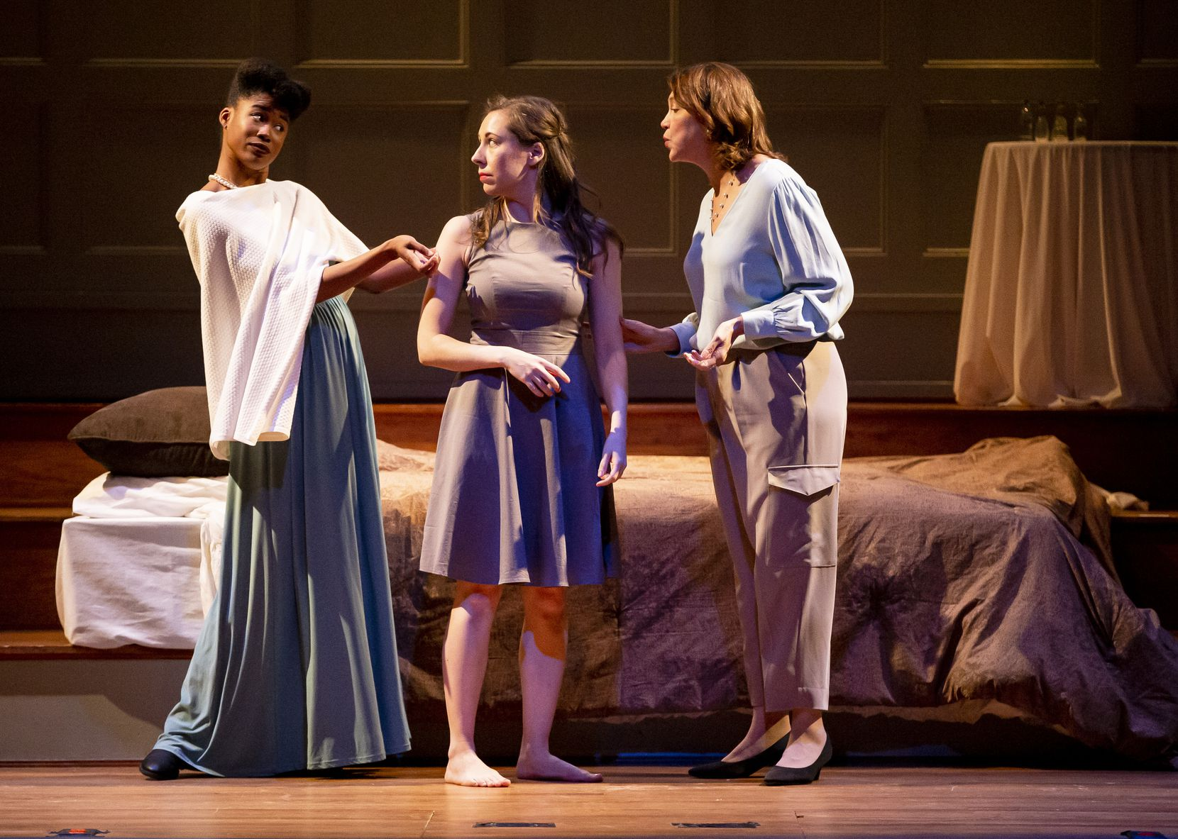 """Jaquai Wade Pearson (from left), Emily Ernst and and Joan Korte perform during a dress rehearsal of """"Romeo and Juliet"""" by the Fair Assembly theater company at Arts Mission Oak Cliff on Jan. 29, 2020, Wednesday, January 29, 2020, days before the pandemic erupted in North Texas."""