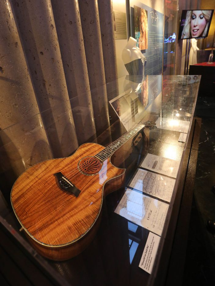 Musical instruments played by Taylor Swift are on display at the Taylor Swift Experience, a new exhibit at this year's State Fair of Texas, photographed at the Hall of State Building in Fair Park in Dallas on Wednesday, September 28, 2016. (Louis DeLuca/The Dallas Morning News)