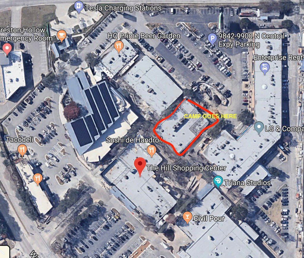 Aerial map of The Hill shopping center on the northeast corner of Walnut Hill Lane and N. Central Expressway in Dallas. The perimeter of the building is marked off where New York-based Camp is opening a store in Dallas in fall 2019.
