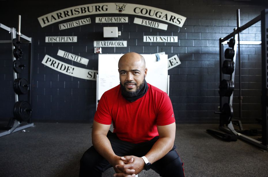 Harrisburg High football coach/athletic director Calvin Everett poses for a photo in the school's weight room in Harrisburg, Pa., Wednesday, May 19, 2021. Everett coached Dallas Cowboys first-round draft pick Micah Parson after he transferred from Central Dauphin High.