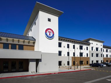 Exterior view of Rangers Village, a housing complex and performance center for minor league players, across the street from the Texas Rangers spring training facility on Thursday, Feb. 13, 2020, in Surprise, Ariz.