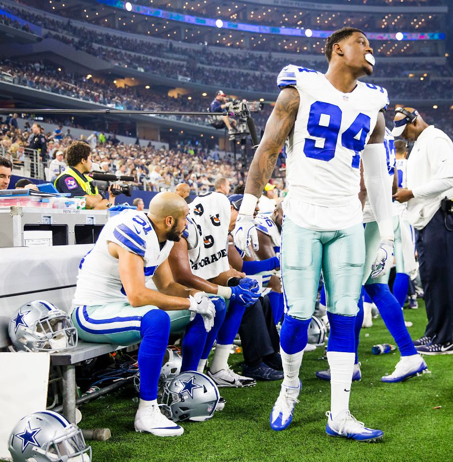 Dallas Cowboys defensive end Randy Gregory on the sidelines during the first half of an NFL football game at AT&T Stadium on Monday, Dec. 26, 2016, in Arlington, Texas. (Smiley N. Pool/The Dallas Morning News)