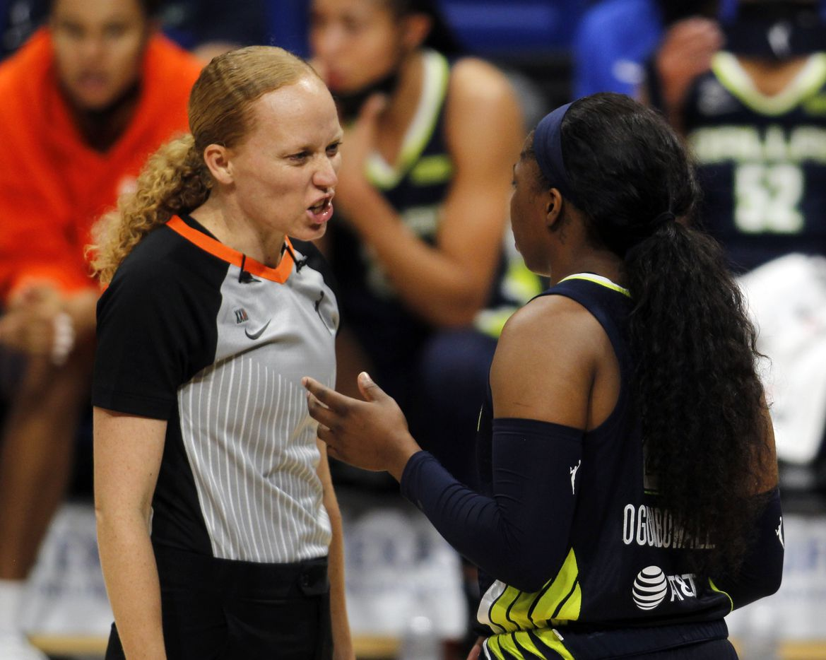 Dallas Wings guard Arike Ogunbowale (24), right, questions a no-call as she converses with a game official during a break in first half action against the Indiana Fever. The Dallas Wings hosted the Indiana Fever for their WNBA game held at College Park Center on the campus of UT-Arlington on August 20, 2021. (Steve Hamm/ Special Contributor)